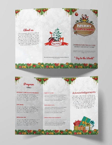 free christmas party tri fold brochure template