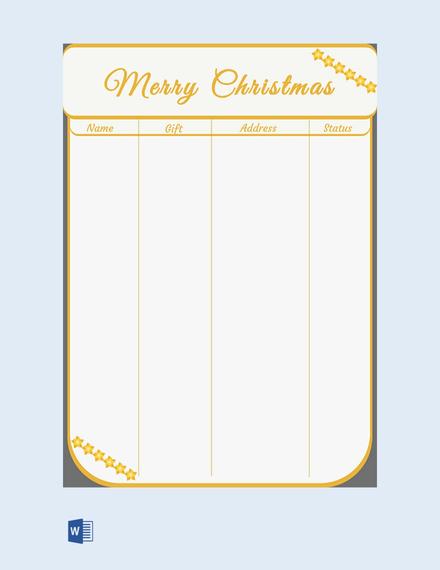 free christmas shopping gift list