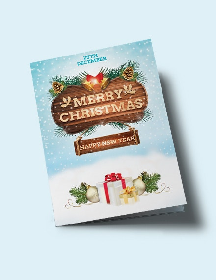 free christmas and new year bi fold brochure template