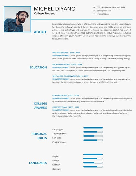 free college student resume