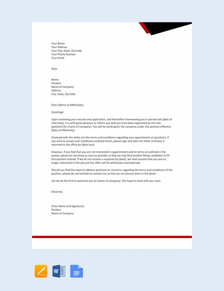 free company appointment letter template
