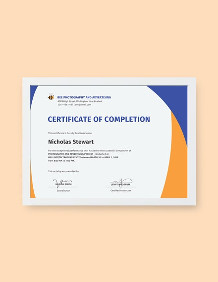 free completion certificate