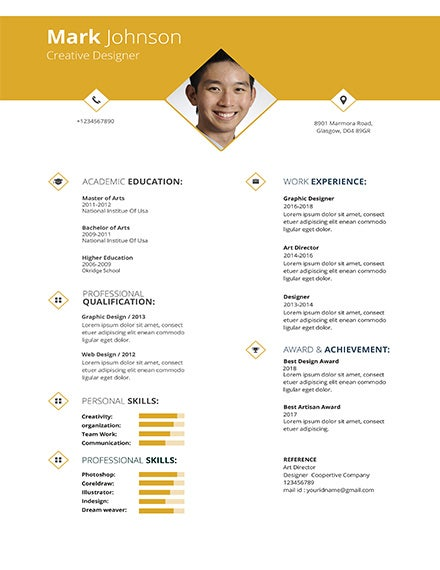 Free Creative Graphic Designer Resume