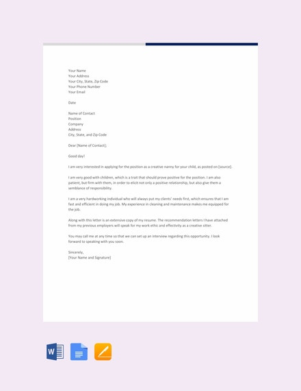 free creative nanny resume cover letter template 440x570 1