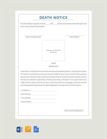 Free Death Notice Template