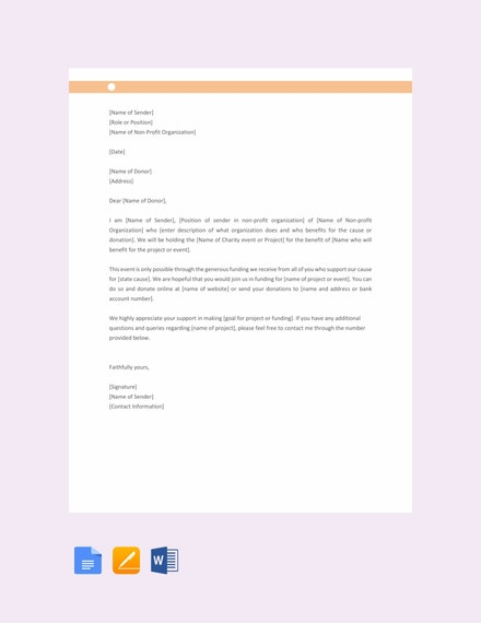 free donation request letter template