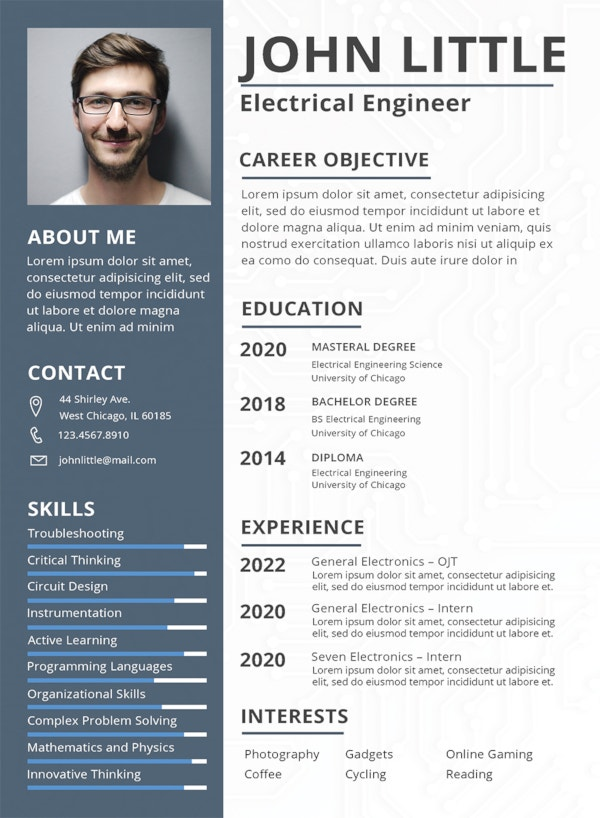 free electrical engineer fresher resume template
