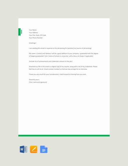 free email application letter