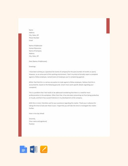 free employee complaint letter template1