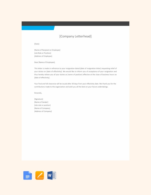 free employee relieving letter format