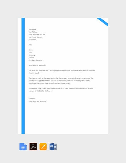 15 employee resignation letter templates pdf doc free