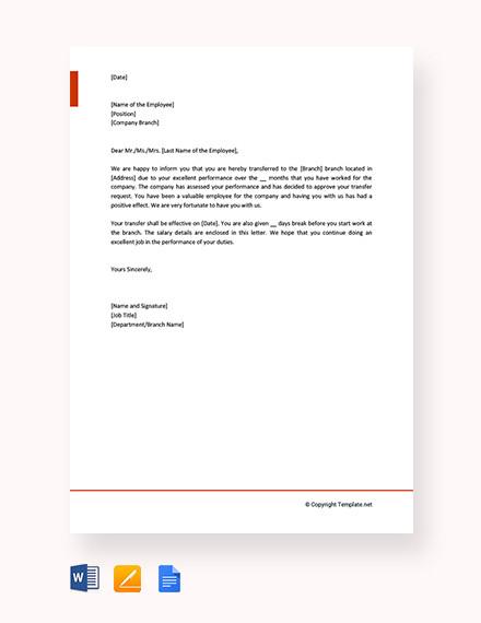13+ Employee Transfer Letter Templates - DOC, PDF | Free & Premium
