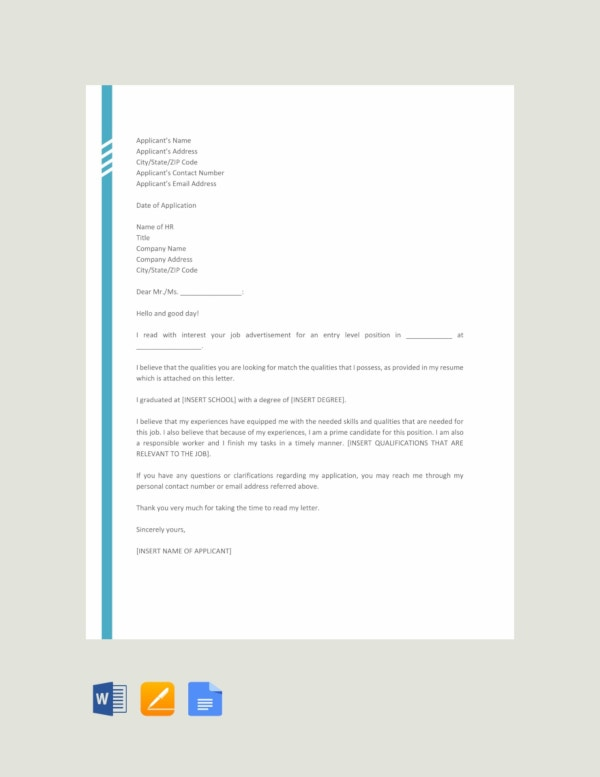 free entry level job application letter template