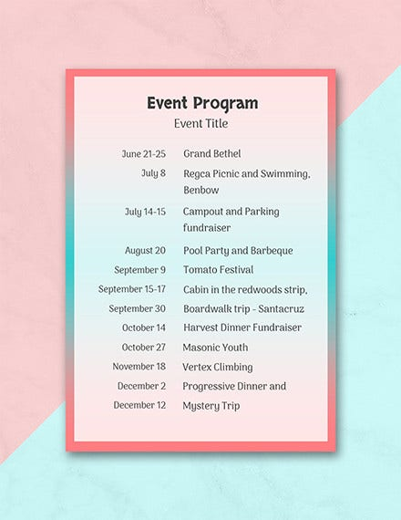 free event program template