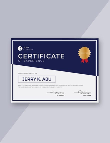 free experience certificate template