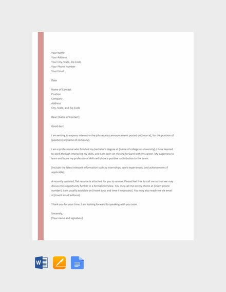 free flat resume cover letter template