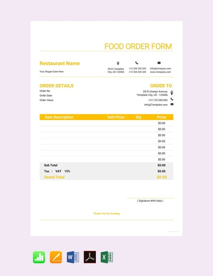 free food order form template 440x570 1