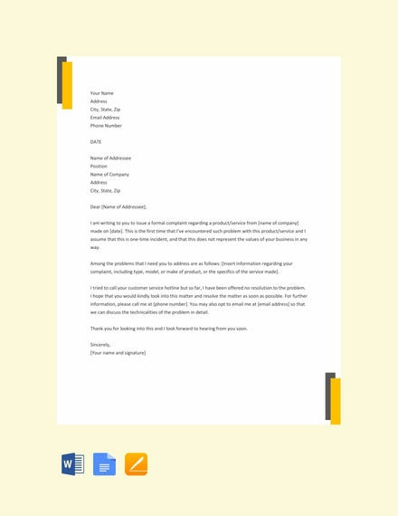 free formal complaint letter template1