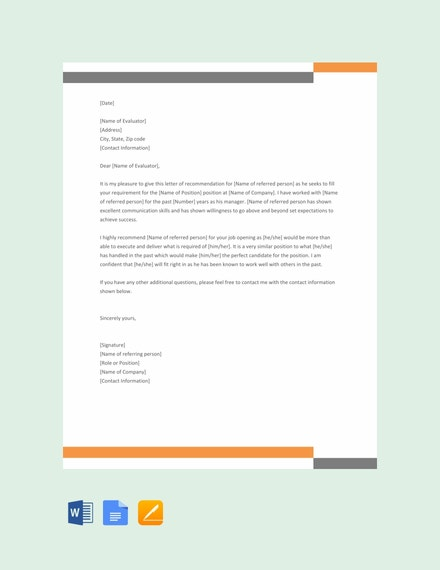 free formal reference letter template1