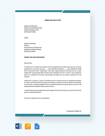 free formal sick leave letter