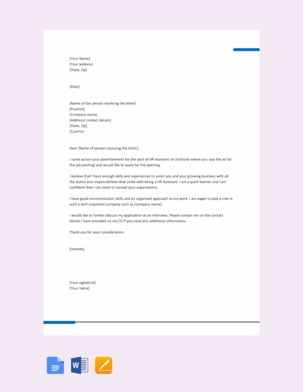 free hr assistant job application letter