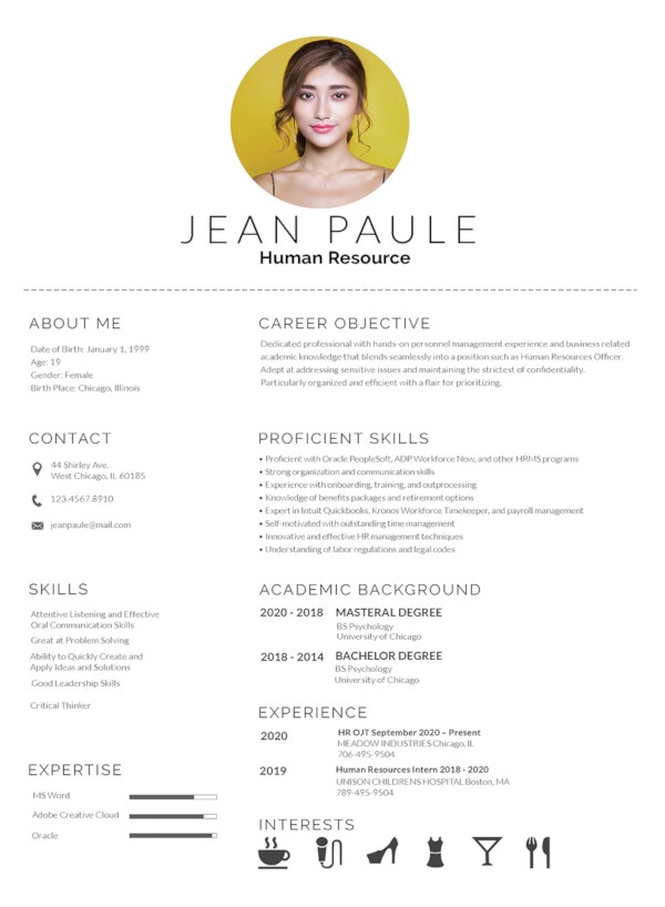 free hr fresher resume template
