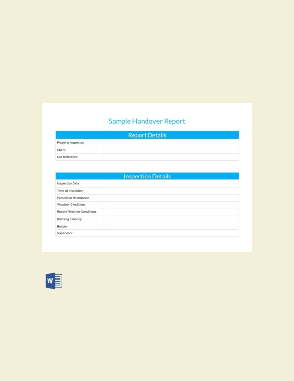 Free Final Project Handover Report Template Net