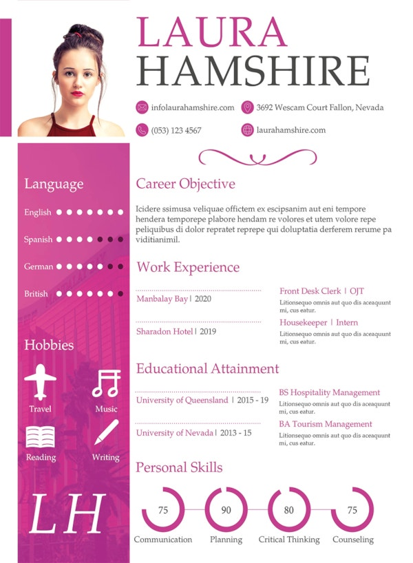 free hotel job resume for fresher