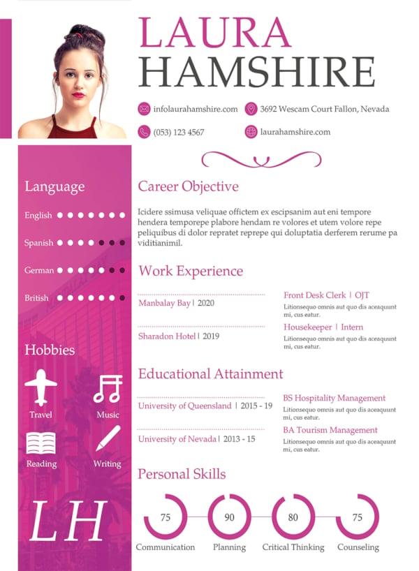 free hotel job resume for fresher