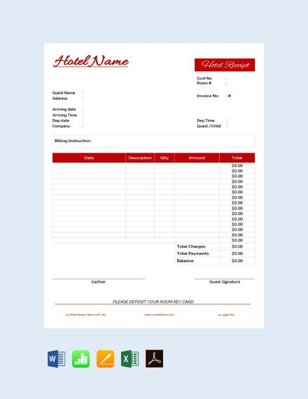 free hotel receipt template1
