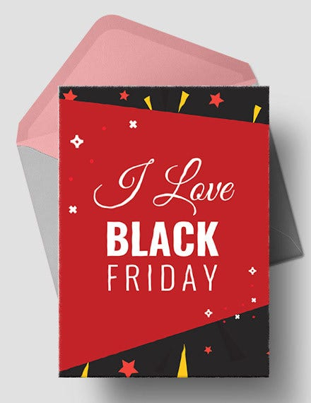 free i love black friday greeting card template