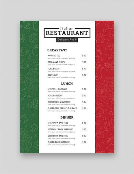 23  free menu templates in pdf