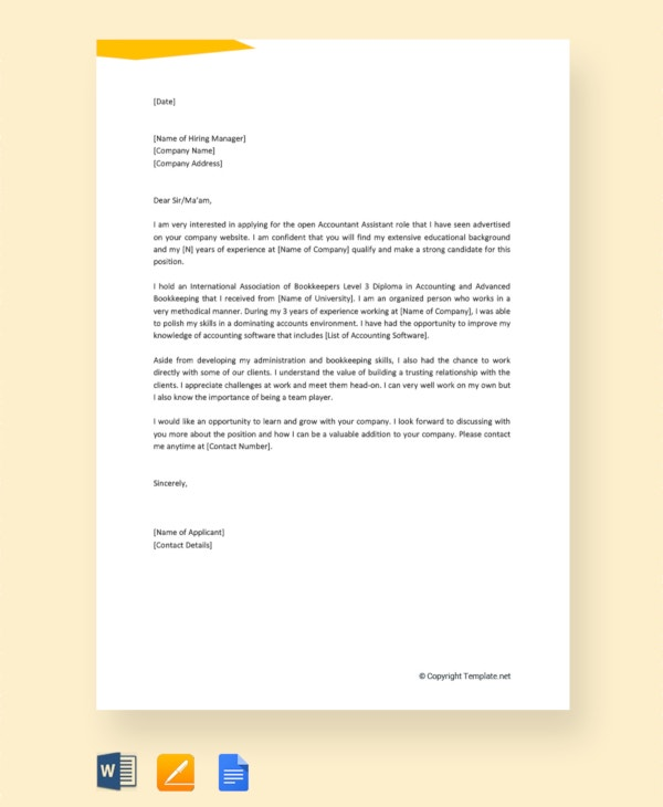 12+ Job Application Letter Templates For Accountant - Word ...