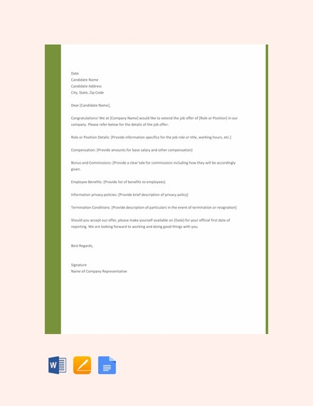 free job offer letter sample for employers template