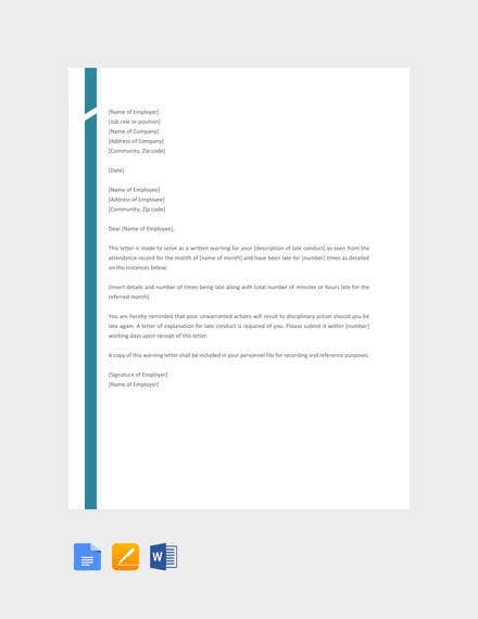 free late warning letter template