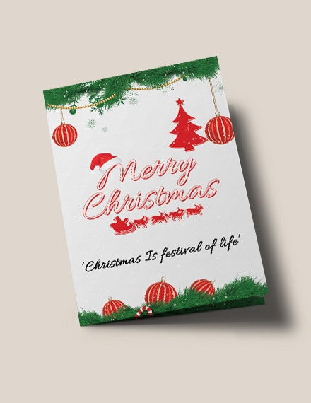 free merry christmas bi fold brochure template