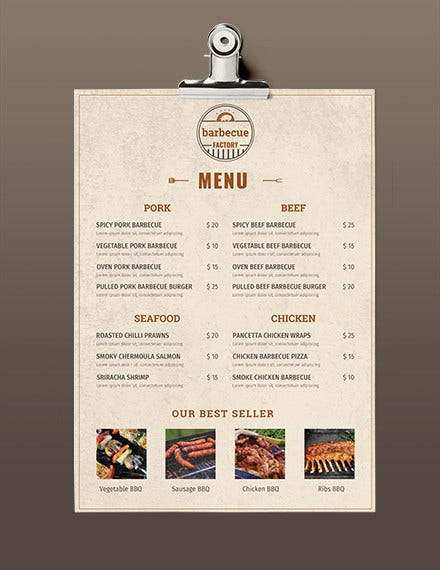 free minimal barbecue menu template