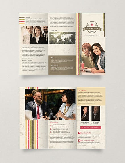 free multipurpose retro trifold brochure