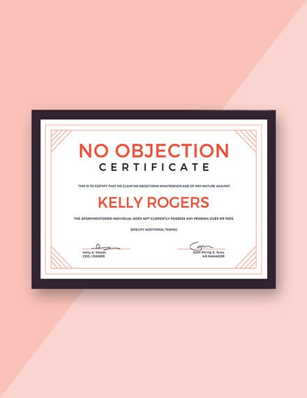 free no objection certificate template