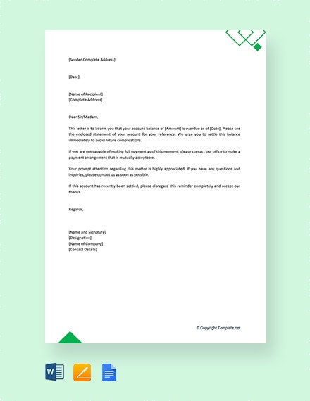 free outstanding payment reminder letter
