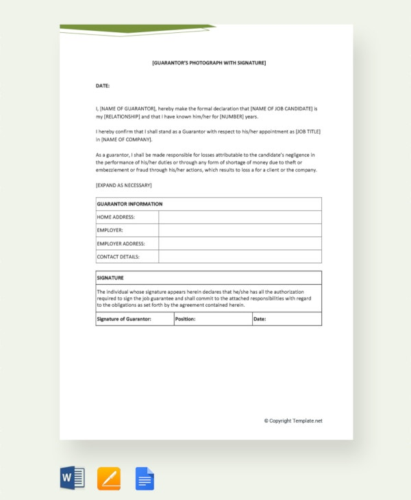 free personal guarantee letter for job details file format