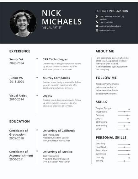 Free Photo Resume Format