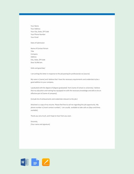 free professional application letter template