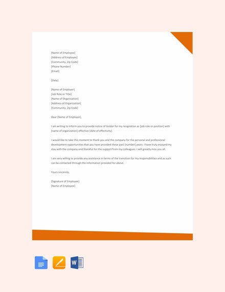 free professional resignation letter template1