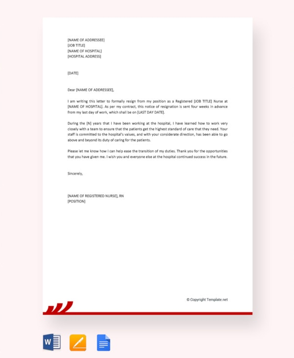 Free Registered Nurse Resignation Letter