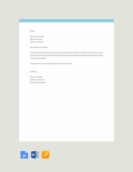 free request letter to principal template