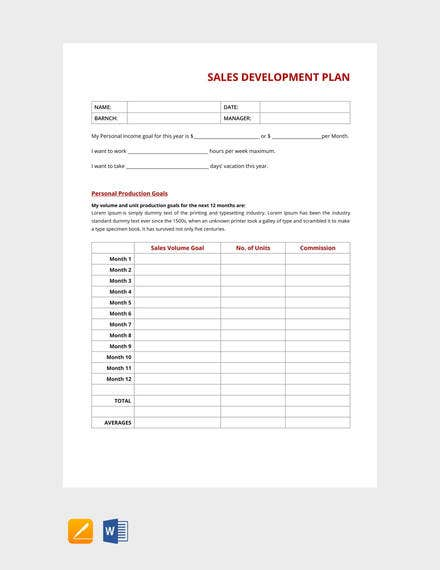 free sales development plan