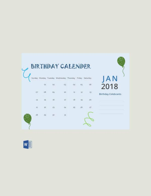 free sample birthday calendar template