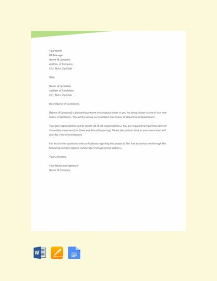 free sample proposal letter template
