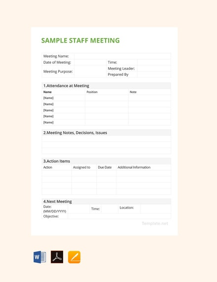 free sample staff meeting minutes template